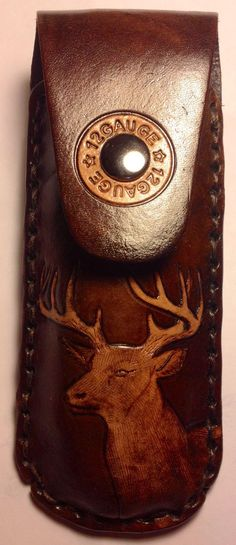 Hand tooled leather knife case