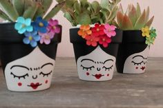 3 Small Frida Decorated Cactus and Succulents Pots image 4 Small Cactus, Small Succulents, Succulent Pots, Cactus Flower, Flower Pot Crafts, Clay Pot Crafts, Diy And Crafts, Painted Flower Pots, Painted Pots