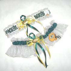 green bay packer Bridal Bouquet | New Wedding Garter Set Handmade with Green Bay Packers fabric From ...