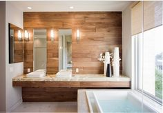 Wood accent in bathroom