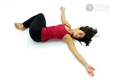 stretch eagle spinal twist or jathara parivartanasana