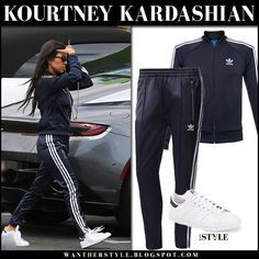 Kourtney Kardashian in navy blue Adidas track suit in LA on August 15 2017 Casual Travel Outfit, Casual Fall Outfits, Cool Outfits, Fitness Fashion, Fashion 101, Adidas Stan Smith Sneakers, Yoga Pants Outfit, Adidas Outfit, Kourtney Kardashian