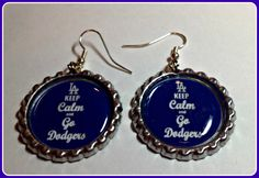 Los Angeles Dodgers Keep Calm Earrings Unique Sports Team Jewelry,nfl mlb nhl ncaa nba,Charm Bracelets,Keychains,Purse Charms,Earrings by SportsnBabyCouture on Etsy