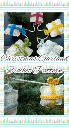 Christmas Present Ornaments Garland Crochet Pattern Pdf Magnolia Design, Christmas Crochet Patterns, Handmade Items, Handmade Gifts, Christmas Presents, Marketing And Advertising, Garland, Crochet Hats, Pdf