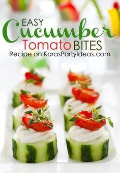Amazing and easy appetizer! Cucumber cream cheese tomato bites! Recipe via Kara's Party Ideas | KarasPartyIdeas.com #cucumberbites #appetizer #blogherholidays