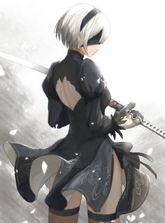 YoRHa Unit No. 2 Type B рисунок, арт, Anime Art, yorha unit no 2 type b, NieR, NieR Automata, игры, длиннопост