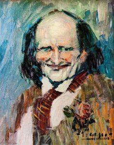 Acheter Tableau 'Portrait de Bibi la purée' de Pablo Picasso - Achat d'une reproduction sur toile peinte à la main , Reproduction peinture, copie de tableau, reproduction d'oeuvres d'art sur toile