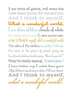 What a Wonderful World Song Lyrics Print by TheContraryCaptain