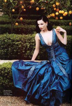 Elegance in blue- DIta Von Teese http://www.luvtolook.net/2013/06/elegance-in-blue-dita-von-teese.html