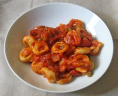 tortellini in tomato sauce http://www.foodnetwork.com/recipes/mario-batali/tortellini-with-basic-tomato-sauce-recipe.html