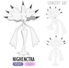 NIGHENCTRA Ghost/Fairy The bad omen Pokémon. Note: This Pokémon was inspired by Banshee, a irish legend. Brock Pokemon, Pokemon Fake, Pokemon Oc, Pokemon Memes, Pokemon Fan Art, Draw Pokemon, Pokemon Fusion, Pokemon Breeds, Coaches