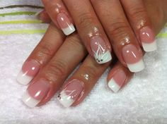 french nails with art - Google Search