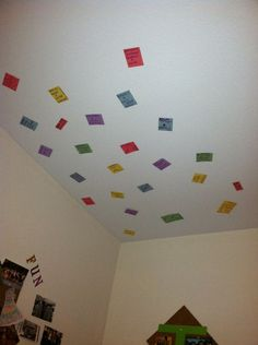 Prayer Requests on ceiling above bedd:)