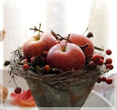 herbstliche tischdeko with apples- mit pfel with apples - Apple Centerpieces, Apple Decorations, Centerpiece Decorations, Decoration Table, Christmas Decorations, Burgundy Flowers, Blush Flowers, Fall Flowers, Sunflower Garden