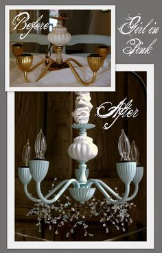 Brass Chandelier Makeover! Mixed 3 Parts Pure White; 1 Part Provence; 2 Parts Artisan Enhancements Pearl Plaster! Sealed with Artisan Enhancements Clear Finish for durability and extra sheen!
