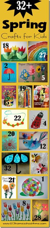 100 Spring Crafts for kids, Kids Activities, and spring themed snacks for kids. So many really clever ideas with rainbows, umbrellas, flowers, bugs, and more for toddler, preschool, kindergarten, 1st grade, 2nd grade, 3rd grade