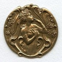 Art Nouveau Lady in a Garden Oxidized Brass Stamping 51mm