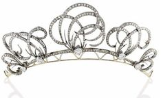 DIAMOND TIARA, Adorned with five scroll motifs set with half-size and 8.8-cut diamonds, monted gold,  weight: 50.20 g, ca. 1900,  wear as brooch and ear clips (6) http://www.christies.com/lotfinder/jewelry/tiare-diamants-5685402-details.aspx?from=salesummary&pos=1&intObjectID=5685402&sid=f92eee51-dacd-4079-9bee-86973b4d6131&page=5