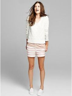 Sunkissed peach stripe shorts | Gap