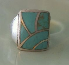 Native American Zuni Sterling Silver Turquoise Inlay Ring Size 8