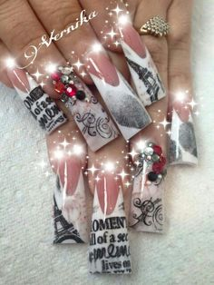 I don't like the shape or length but I love the designs Duck Flare Nails, Duck Nails, Gorgeous Nails, Love Nails, Pretty Nails, Long Nail Designs, Nail Art Designs, Nails Design, Mobile Nails