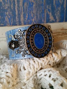 SILVER & BLUE Native Concho and Filigree on by BellaNotteDesigns