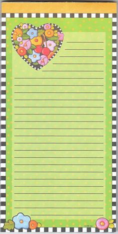 Mary Engelbreit Magnetic Refrigerator Grocery List Green To Do Note Pad Springtime Valentine Flower Heart Checkerboard Border Stationary Printable, Printable Lined Paper, Paper Toys, Paper Crafts, Create 365 Planner, Labels, How To Make Drawing, Mary Engelbreit, Decoupage Paper