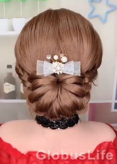 Braided Ponytail Hairstyles, Bun Hairstyles For Long Hair, Elegant Hairstyles, Girly Hairstyles, Long Hair Wedding Styles, Long Hair Styles, Hair Upstyles, Long Hair Video, Lace Hair