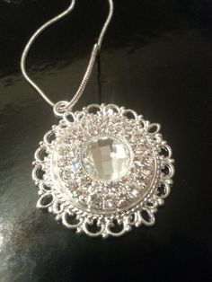 Vintage Scroll Pendant with Faceted Rhinestones on by FrankieBeanz, $34.99