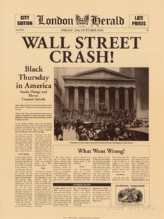 Crowd gathering on Wall Street after the 1929 crash. The Wall Street Crash of also known as the Great Crash Newspaper Front Pages, Vintage Newspaper, Newspaper Wall, Newspaper Article, Vintage Art, History Facts, World History, History Articles, News Articles