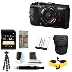 Olympus TG-4 16 MP Waterproof Digital Camera with Accessory Bundle. 4X wide-angle optical zoom with fast f2.0 high speed lens. Waterproof to depths of 50 feet, Freeze proof to 14 degrees F, Shockproof to 7 feet, Crushproof to 220 lb. RAW capture, Live Composite, Underwater modes with Underwater HDR. Wi-Fi / GPS / e. Compass. 1080P HD video.