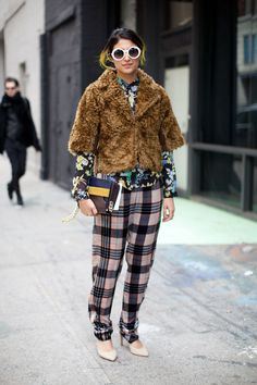 Preetma Singh. Plaid, fur, sunnies. It's all a jumble put you pull it off with ease. You go sweets. #NYFW