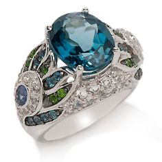 "Victoria Wieck 6.73ct London Blue Topaz and Gem ""Peacock"" Ring at HSN.com"