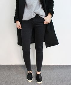 Black Jeans + Slip Ons are a go to.