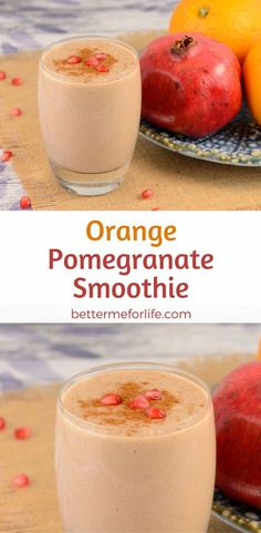 Treat yourself to the tart and tangy citrus flavors in this orange pomegranate smoothie. This smoothie is packed with antioxidants, fiber and protein. Find the recipe on http://BetterMeforLife.com