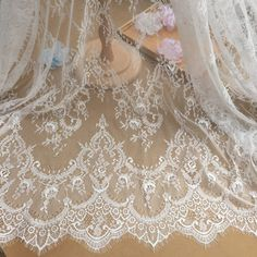 Embroidery Eyelash Lace Fabric French Jacquard Lace Mesh Materials DIY Bridal Wedding Full Evening Dress 59 Width 1.5 meter per piece