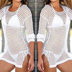 78f744541e beach cover up Brand New Summer Women Sexy Mesh Knitted Crochet Dress Cover  Ups Crochet Bathing
