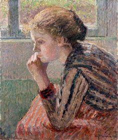 "Camille PISSARRO Tête de jeune-fille de profil dite ""la Rosa"", 1896 Huile"