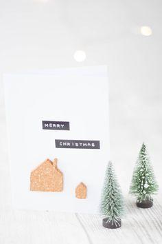 Weihnachtskarten mit Kork basteln