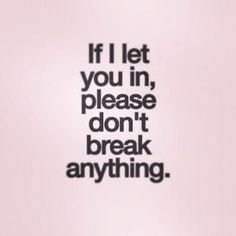 if i let you in please don't break anything.
