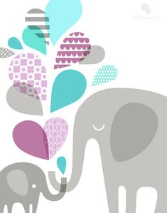 """11X14"""" elephant mommy & baby portrait format giclee print on fine art paper. purple, turquoise, teal blue and gray."""