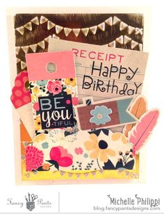 Birthday card -- featuring Burlap & Bouquets; Michelle Philippi
