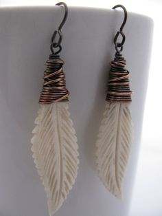 Wire Wrapped Carved Bone Earrings