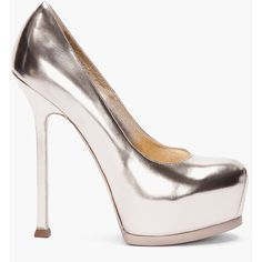 YVES SAINT LAURENT Pale Gold Tribtoo Pumps ($595) ❤ liked on Polyvore