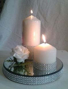 New Wedding Table Cake Candles Ideas 60th Anniversary Parties, 25th Wedding Anniversary, Wedding Table Centerpieces, Wedding Decorations, Christmas Decorations, Candle Decorations, Mirror Candle Plate, Wedding Cake Stands, Trendy Wedding
