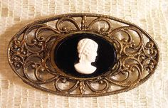 Vintage CAMEO Brooch PIN Jewelry Antique by ClothesClosetBoutiq