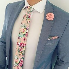 Love that @Suited_Man style including their wide selection of floral ties and lapel pins | Get them now at www.suitedman.com | Follow @suited_man #suitup @SuitedManStyle