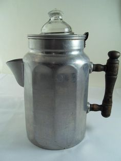 Antique Aluminum Coffee Pot  with Wooden Handle 1912 by martasrose