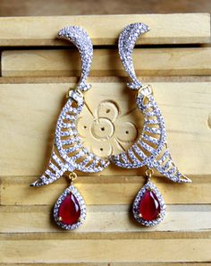 CZ Red Drop Earrings whiteredMAE323e