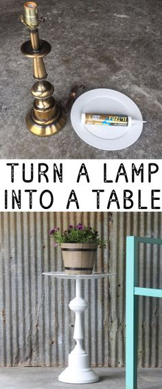 Table made from a Lamp (an easy upcycle idea) Cute little side table made from a lamp - looks so easy! Cute little side table made from a lamp - looks so easy! Old Furniture, Repurposed Furniture, Furniture Makeover, Primitive Furniture, Furniture Decor, Urban Furniture, Office Furniture, Modular Furniture, Garden Furniture